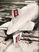 Zeppelin 'Hindenburg' moored at Lakehurst, New Jersey, c1936