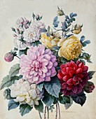 Bouquet of Flowers, Dahlias and Roses, c1830-1840