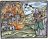 Witches destroying a house by fire - Swabia, 1533