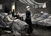 Florence Nightingale in the barrack hospital at Scutari