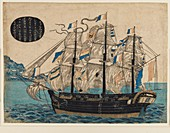 Woodblock print - Dutch sailing boat, with flag of VOC