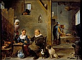 A Distillery with an elderly Man buying Gin, c1640-1649