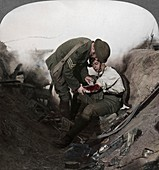 Soldier receiving first aid, Battle of Peronne, World War I