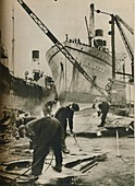 Shipbreaking at Bo'ness West Lothian, 1937