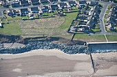 Sea wall and coastal defences, Withernsea, Yorkshire, UK
