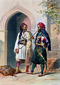 Arnaout and Osmanli soldiers in Alexandria, Egypt, 1848