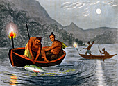 Native Americans fishing by torchlight, 1813