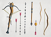 Bows and arrows from the 14th-15th century, 1842