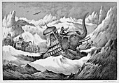 Hannibal and his war elephants crossing the Alps, 218 BC