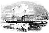 Transatlantic liner Britannia leaving Boston, USA, 1847
