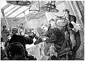 First class dining saloon of an Atlantic steamer, c1890