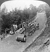 A woman work team on the Darjeeling highway, India, 1903