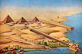 Reconstruction of the three pyramids at Abusir