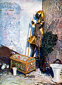 Ancient Egyptian painted clothes chest