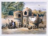 Peasant dwellings in Upper Egypt, 1848