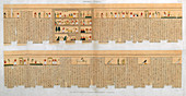 Manuscript with hieroglyphics, from a tomb at Thebes, Egypt