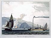 Steam boat on the Clyde near Dumbarton, Scotland, 1829