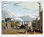 Locomotive taking in water at Parkside, 1833