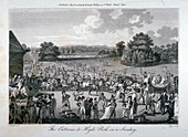 Crowded entrance to Hyde Park on a Sunday, London, 1804