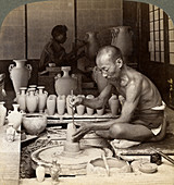 A potter and his wheel, Kinkosan works, Kyoto, Japan, 1904