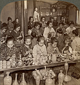 Decorating cheap pottery for foreign markets, Japan, 1904