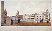 Greenwich Hospital with residents, London, 1830
