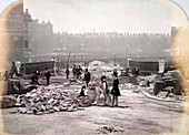 Figures on Holborn Viaduct during its construction, London
