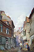 View of figures in Glean Alley, Bermondsey, London, c1825