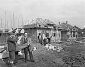 Residential house construction, South Yorkshire, early 1960s