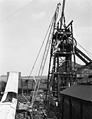 Heavy lifting gear at Hickleton Main pit, Yorkshire, 1961