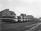 Fleet of Phillipson's coaches, South Yorkshire, 1963