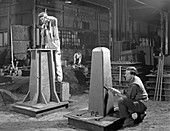 Two stages of moulding a steel casting, 1963