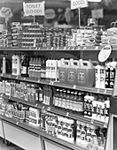 Cleaning products on supermarket shelves, 1966