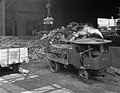 Loading a steam wagon with scrap at a steel foundry, 1965