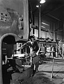 Forging pins at Edgar Allen's steel foundry, 1963