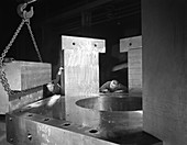 Inspecting a bubble chamber casting, 1964