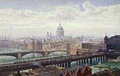 Cannon Street Bridge and Southwark Bridge, London, 1892