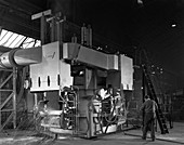 Arc furnace in operation, Sheffield, South Yorkshire, 1964