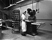 Meat pie production, Rawmarsh, South Yorkshire, 1959