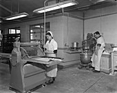 Pastry making for meat pies, Rawmarsh, South Yorkshire, 1955