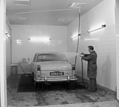 A 1961 Austin Westminster in a car wash, Grimsby, 1965
