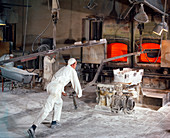 Extracting a steel bath from the furnace, 1967