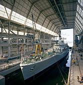 HMS Cleopatra at Devonport frigate complex, 1977