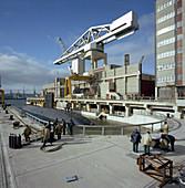 Nuclear submarine berthing, Devonport docks, Plymouth, 1980