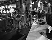 Checking printed pages from a two colour press, 1959