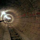 Empty Jubilee Line Tube tunnel, London, 1974
