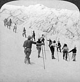 Ascending a steep snowfield, Stevens Glacier, USA