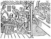 Printworkers harassed by skeletons, 1499