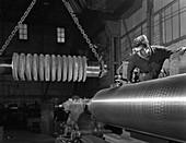 Machining industrial rollers, 1963