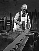 Tensioning the crosscut on a two metre saw blade, 1963